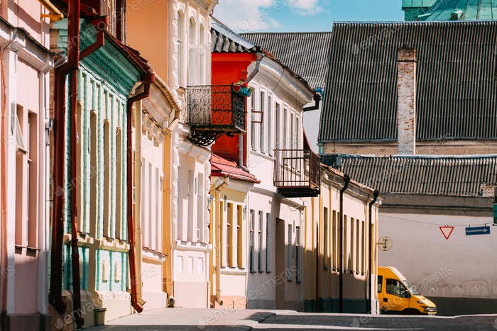 Grodno, Belarus. Facades Of Old Traditional Houses In Sunny Summ