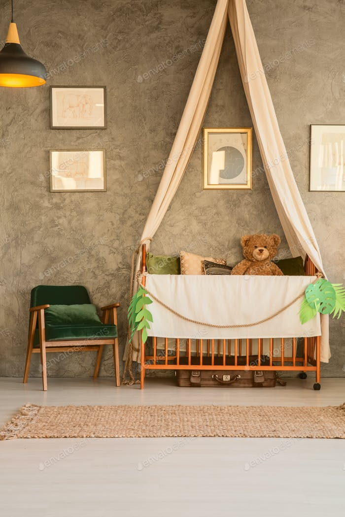 Baby cot with teddy bear