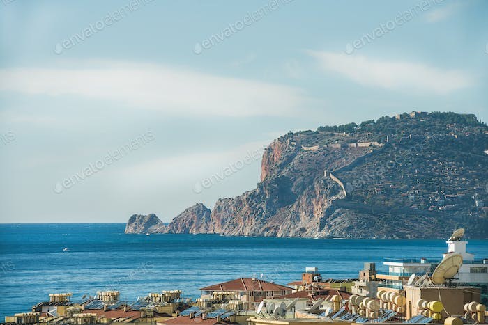 View over Alanya castle hill and Mediterranean sea, Turkey