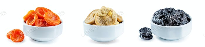 Trio of dried fruits isolated