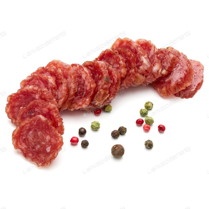 Salami smoked sausage slices and peppercorns isolated on white background cutout