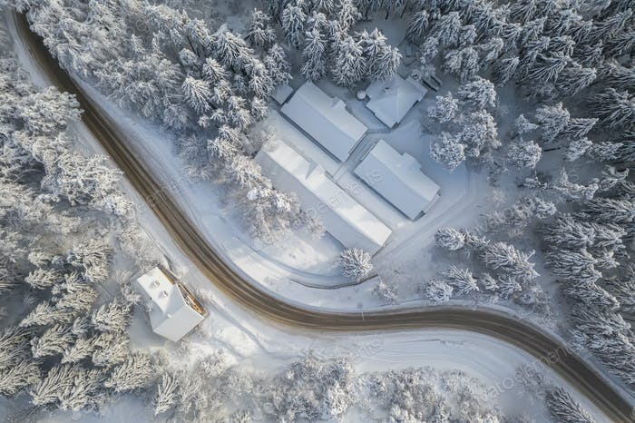 Curvy winter road