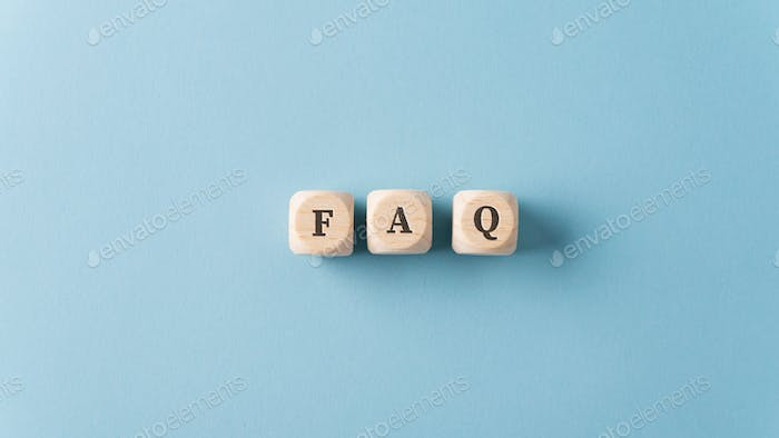 FAQ sign over light blue background
