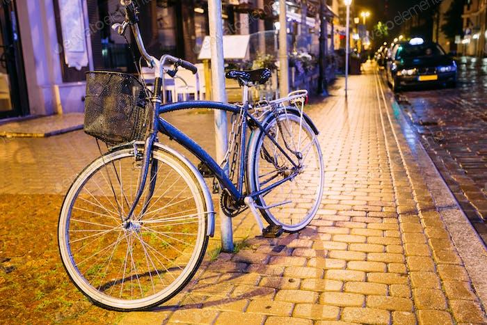 Bicycle Bike Parking On Street In Old Part European Town In Summ