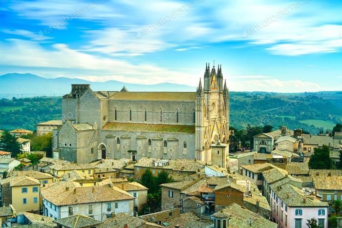 Orvieto medieval Duomo cathedral church and old village aerial view. Italy