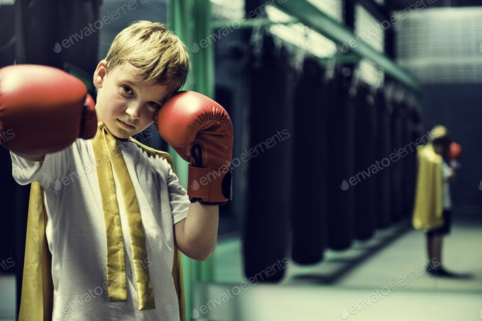 Superhelden-Champion Boxer Boy Strength Fighter Konzept