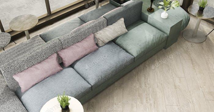 3D Rendering Luxus und modernes Wohnzimmer mit Ledersofa
