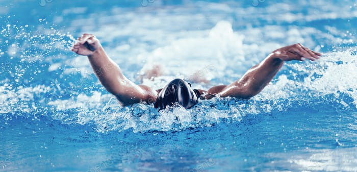 Professional swimmer, swimming race, indoor pool
