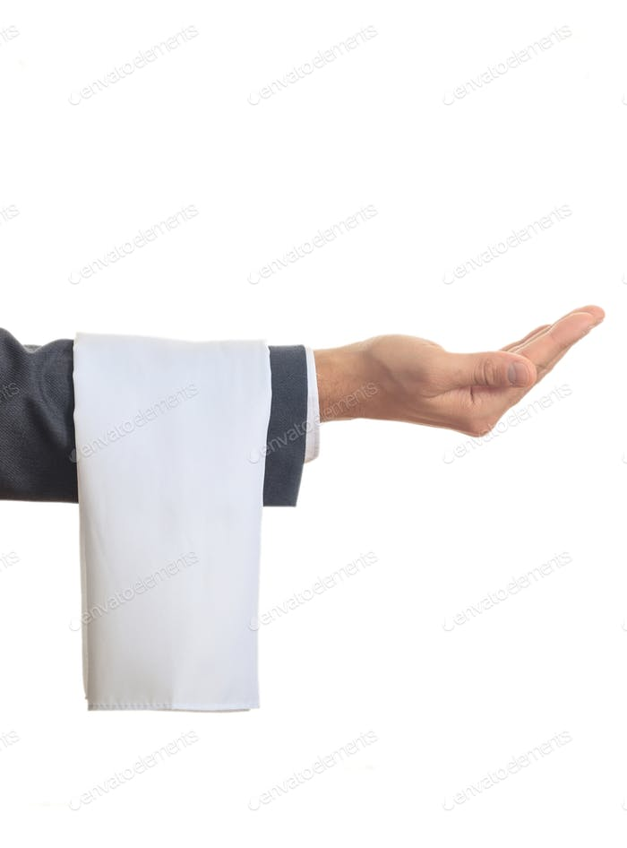 Waiterl showing his empty hand on white background