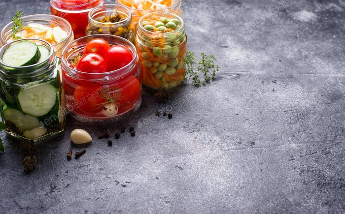 Fermented food. Preserved vegetables in jars