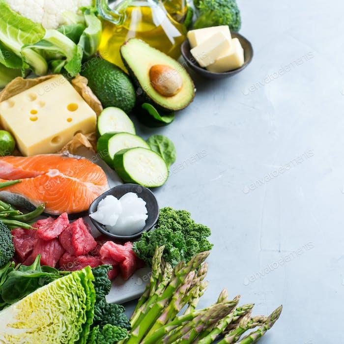Gesunde ketogene kohlearme Nahrung für eine ausgewogene Ernährung