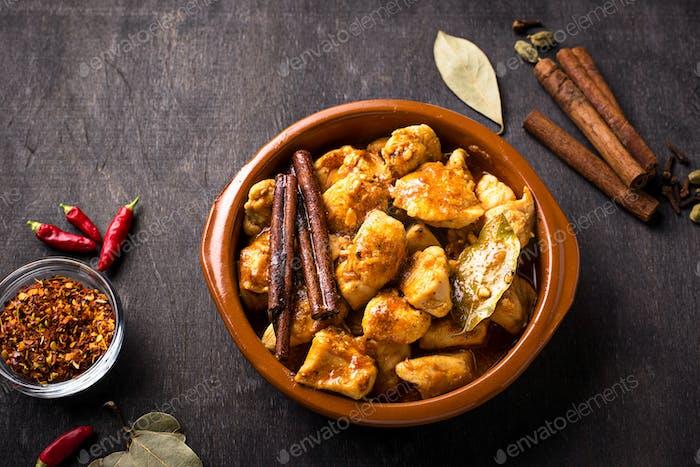 Chicken tikka masala. Traditional Indian dish