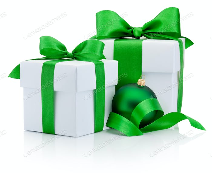 Two gift white boxes tied green ribbon bow and christmas bauble