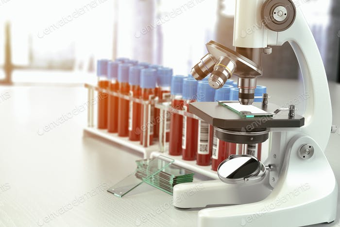 Microscope medical test tubes with blood samples in laboratory,