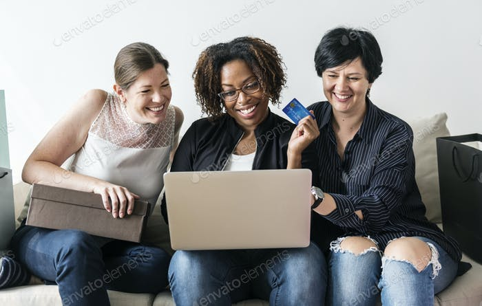 Women enjoy shopping online