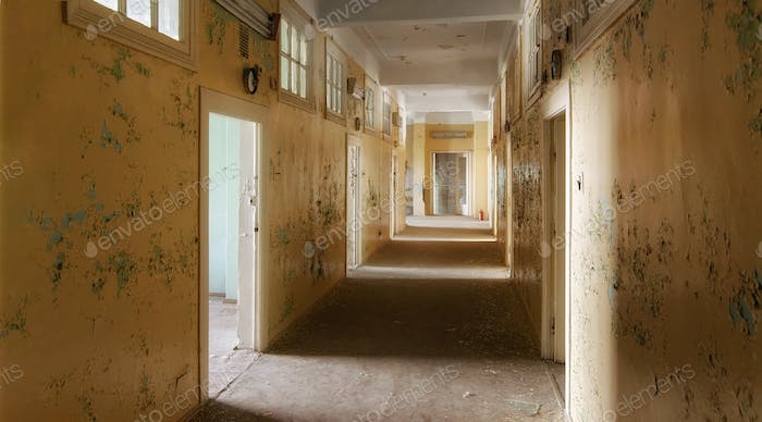 The hallway of an abandoned building