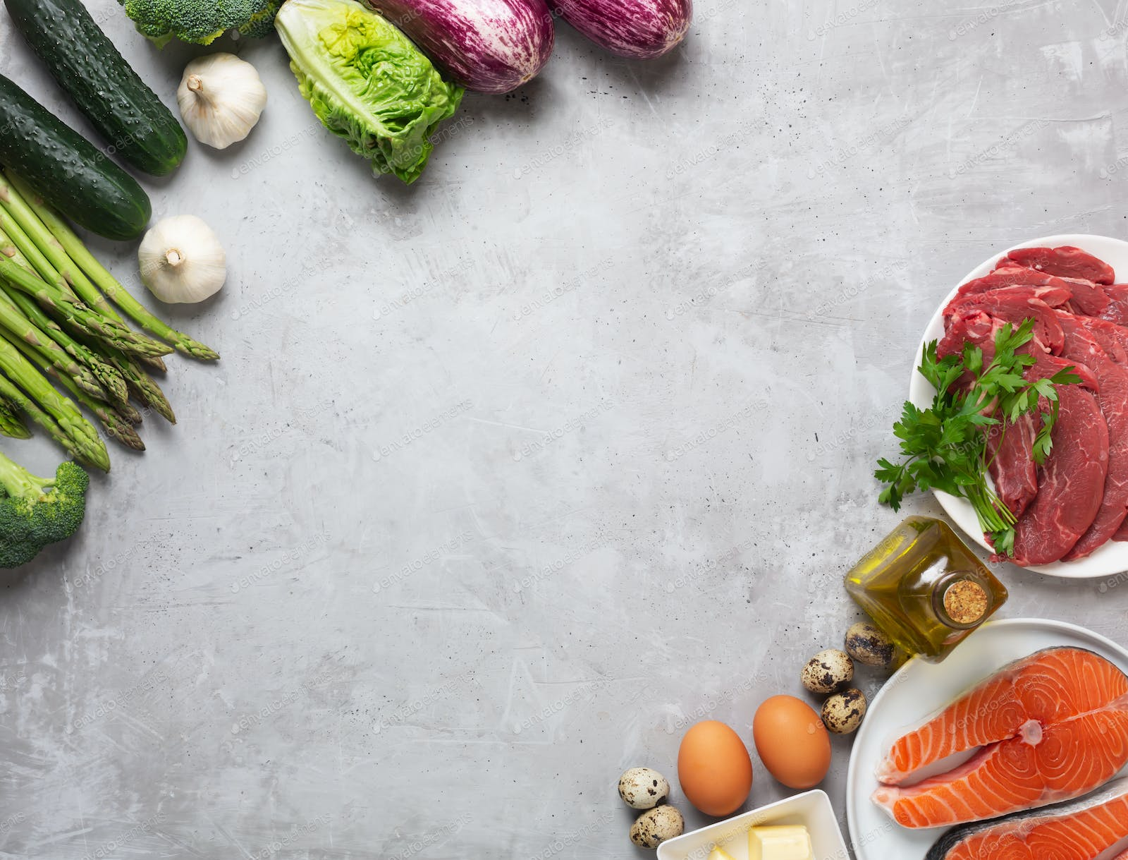 Atkins Diet Food Ingredients On Concrete Background Health Concept Top View With Copy Space Photo By Civil On Envato Elements