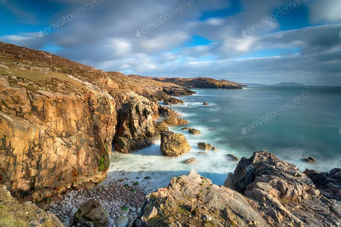 The wild and rugged coastline at Hushinish