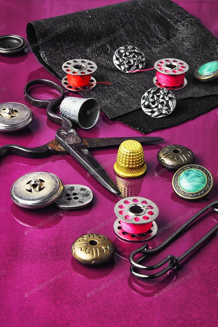 button and sewing thread