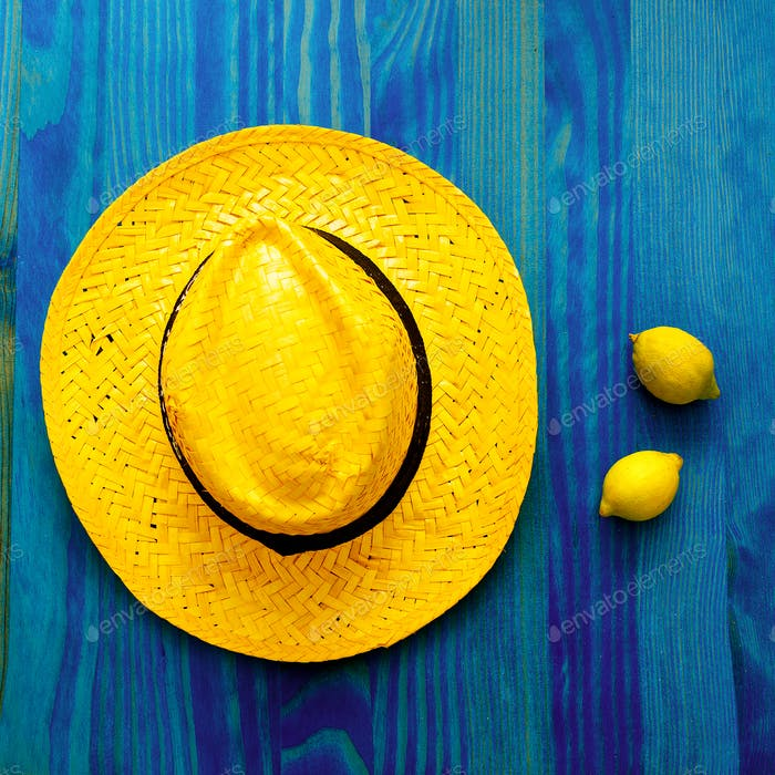 Lemon and straw hat. Tequila. Tropical Minimal. Fresh ideas