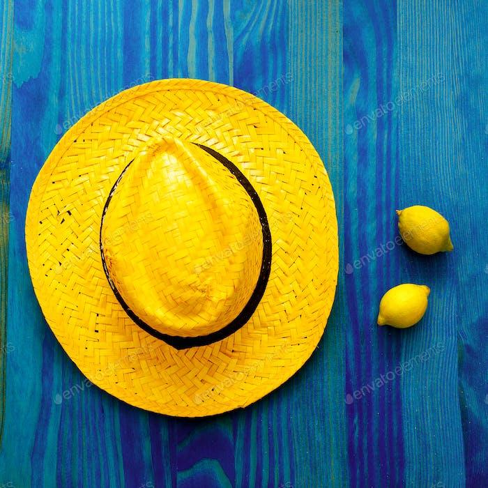 Lemon and straw hat. Tequila. Tropical Minimal. Fresh ideas