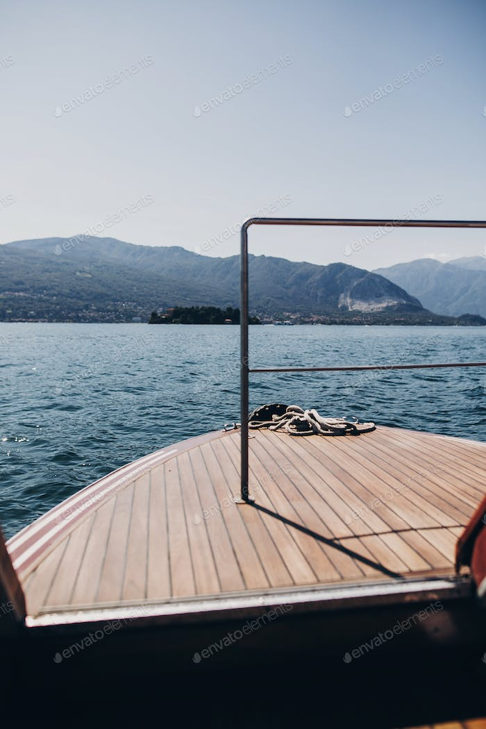 Beautiful yacht wooden deck, boat nose