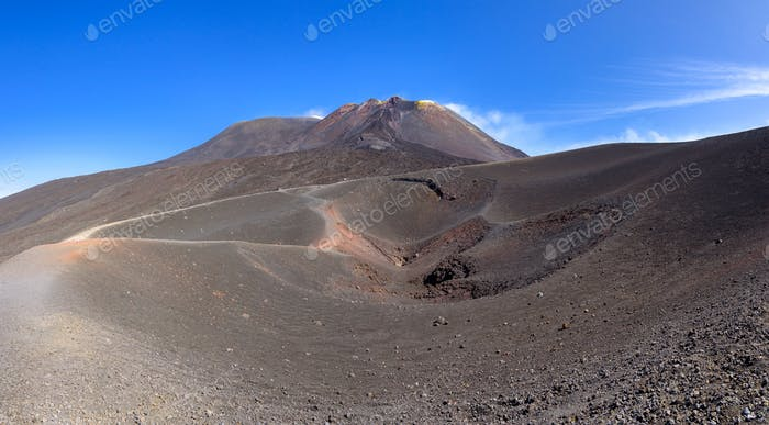 Panoramic view of Etna crater created by eruption in 2002