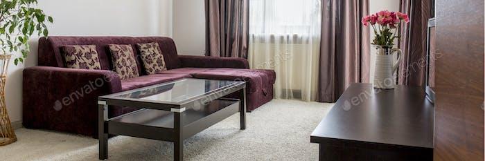 Purple sofa in living room