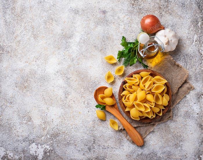 Raw uncooked italian conchiglioni  pasta