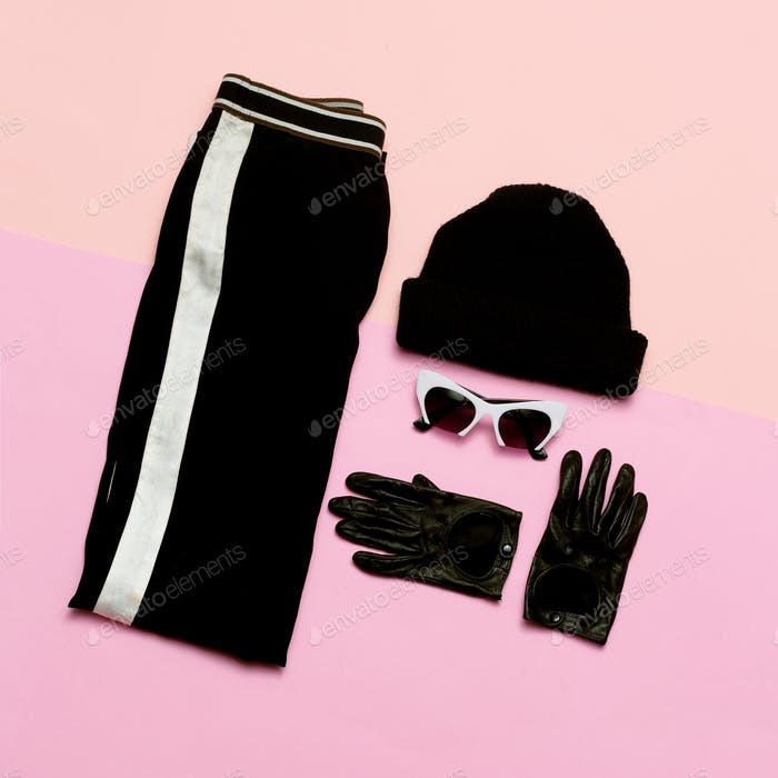 Black Fashion clothing set. Accessories For Women. Beanie. Glove