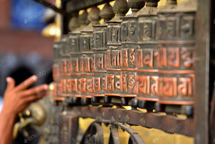 Buddhist prayer wheels in Swayambhunath, Nepal