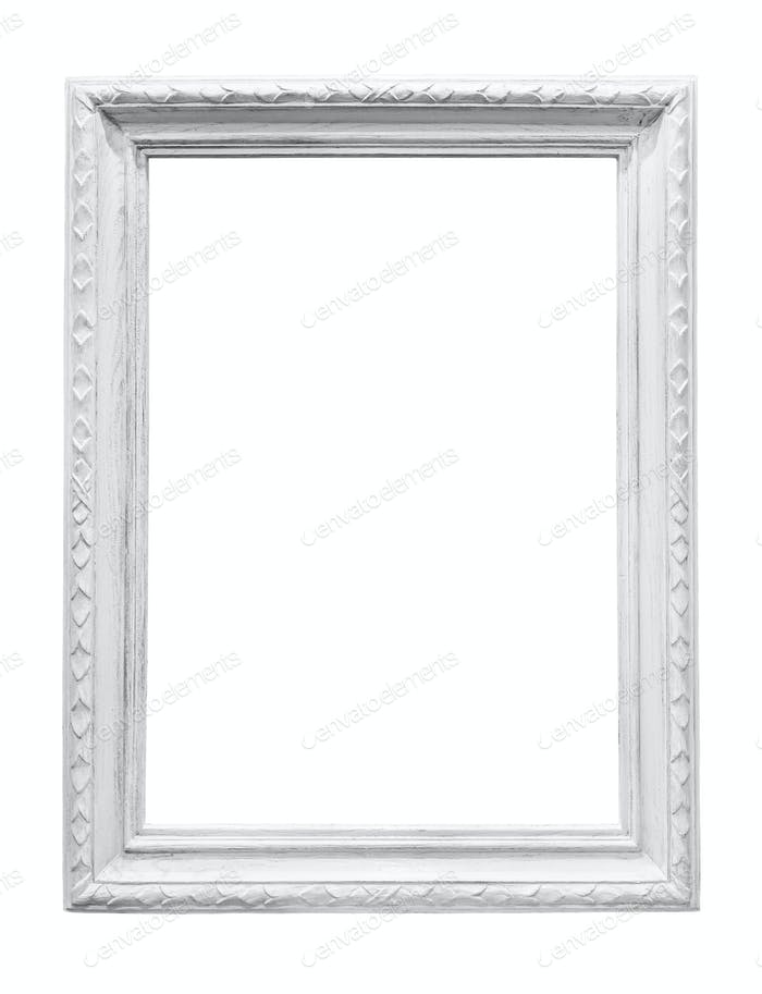White wooden picture frame isolated