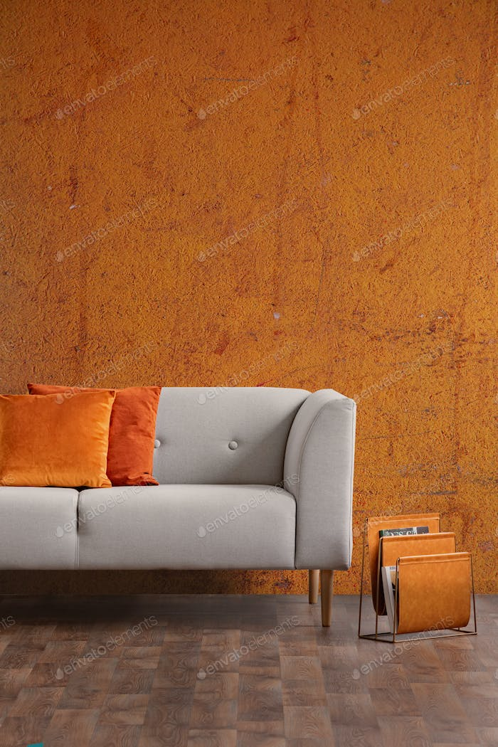 Wabi sabi living room interior with old orange wall and new styl