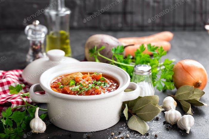 Borscht, traditional ukrainian beetroot vegetable soup