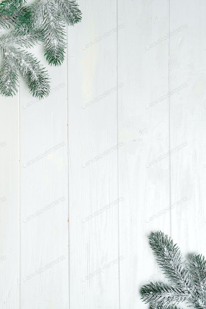Christmas fir tree with decoration on white wooden board. with copy space for text. Christmas mock