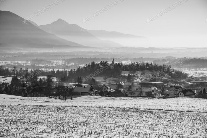 Beautiful countryside on a winter morning