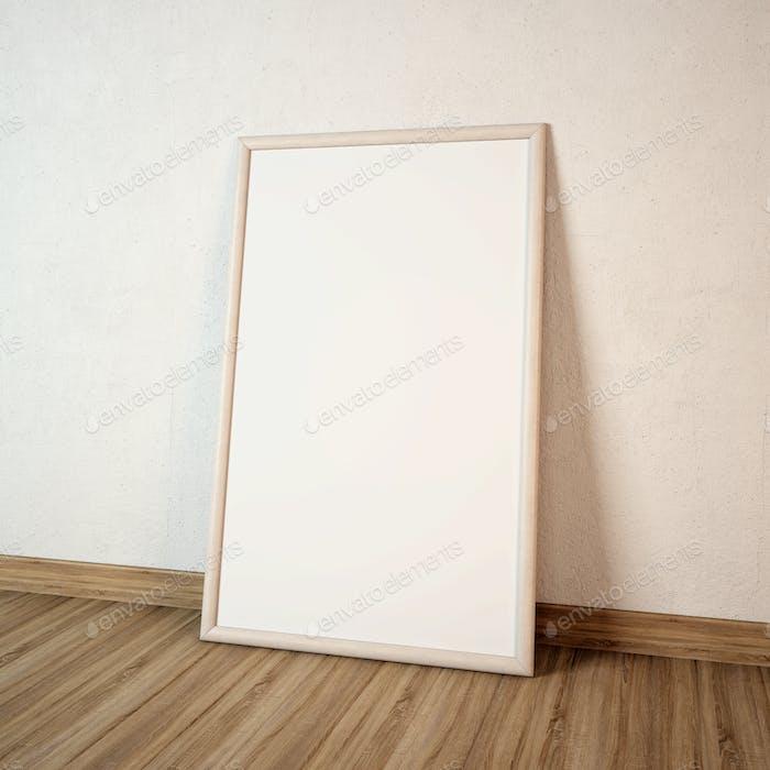 Big blank Frame on the wooden floor. 3d Illustration.