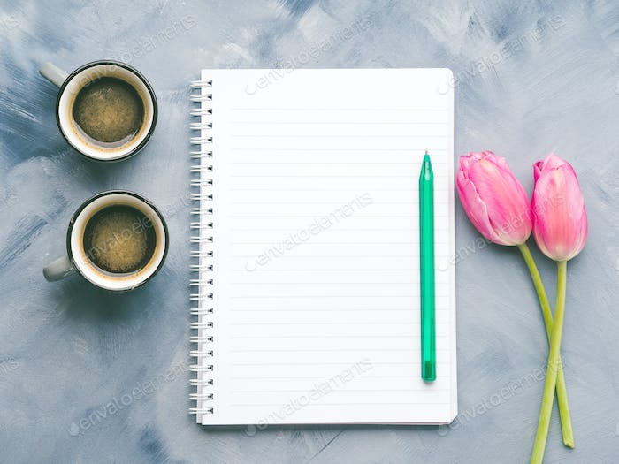 Blank notepad, coffee and tulips