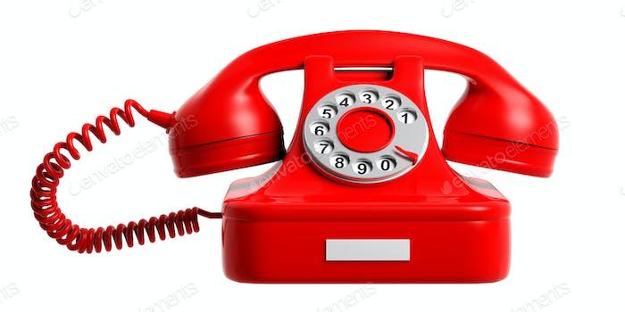 Rotes Vintage-Telefon isoliert ausgeschnitten auf weißem Hintergrund.