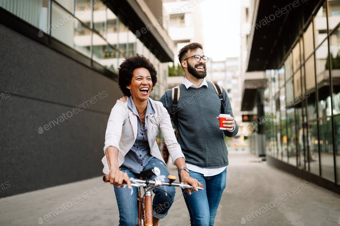 Happy people eco transport city bicycle fun concept