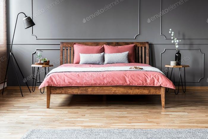 Grey and pink minimal bedroom