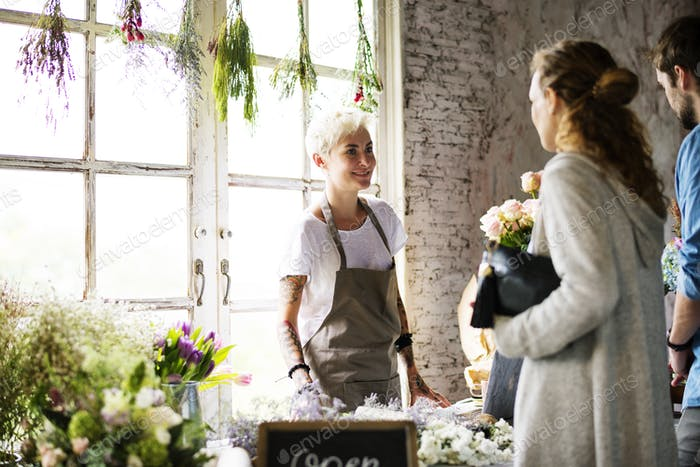 Florist Selling Fresh Flowers Bouquet Arrangement