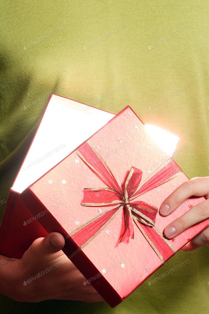 young man with a gift box