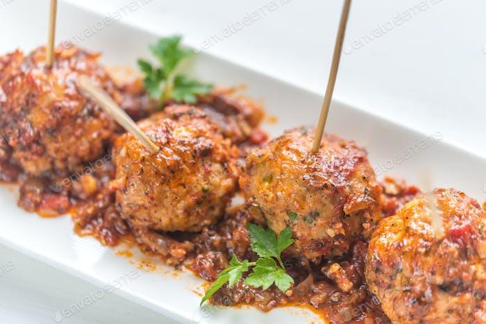Turkey meatballs skewers