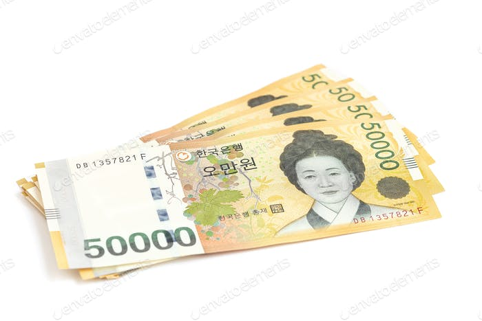 South Korea currency in 50 000 won value, save money concept