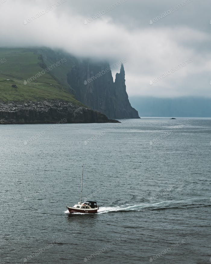 Gorgeous faroese landscape with famous Witches Finger cliffs