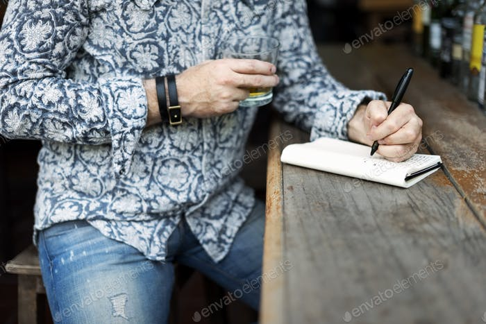 Hipster Man Writer Journal Inspiration Concept