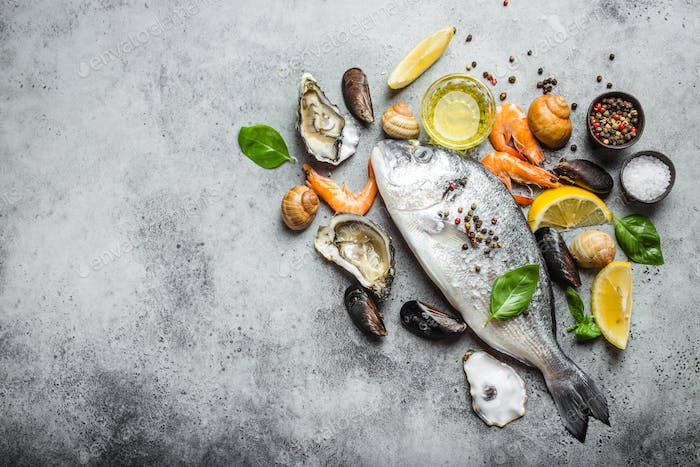 Fish and seafood assortment