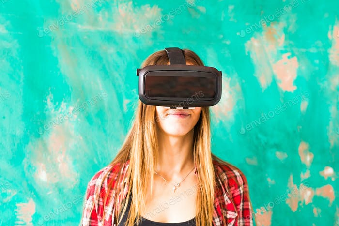 Young Woman Wearing Virtual Reality Headset