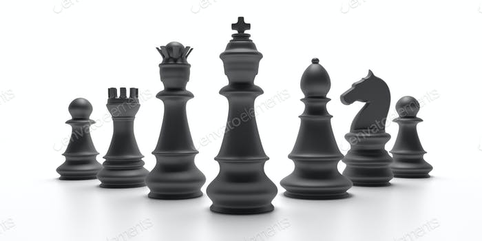 Chess black set isolated on white background. 3d illustration